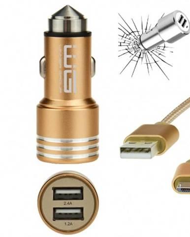 Nabíjačka do auta WG 2xUSB 2,4A + kábel Micro USB, zlatá